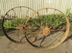Pair Steel Wheels - Possibly From A Corn Drill