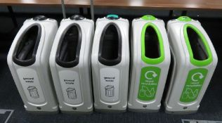 5x Various Waste Bins. To Include: General Waste & Mixed Recyclables.