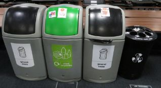 4x Various Waste Bins. To Include: General Waste, Mixed Recyclables & Plastics/Liquid.