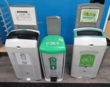 3x Various Waste Bins. To Include: General Waste, Mixed Recyclables & Food Waste.