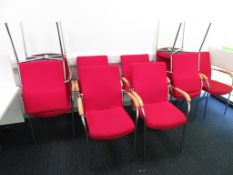 9x Red Upholstered Padded Chairs.