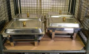 4x Stainless Steel Chafing Unit With Fuel Units
