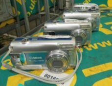 3x Canon Power Shot A470 Cameras & Sony DSC-P41 Cyber-Shot Camera