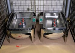 2x Stainless Steel Roll Lid Chafing Unit With Fuel Units