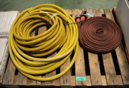 45mm Layflat Fire Hose With Coupling Ends & 2x Yellow Water Hoses - 30mm