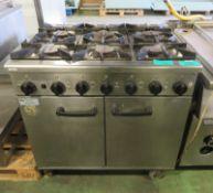 Burco 6 Hob Gas Range Oven - L900 x W850 x H930mm