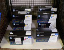 4x HP LaserJet 507A Print Cartridges - Cyan, HP LaserJet 504A Print Cartridge - Magenta, H