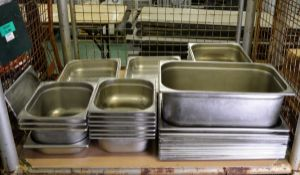 Various Sized Rectangle Stainless Steel Gastronorm Dishes