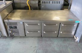 GRAM KSO-6H-OPE5 Stainless Steel 6-Draw Chiller - L1850 x W720 x H630mm