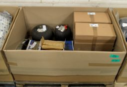 Vehicle parts - air springs, air dryer, mounting kit, rear brake pads, brake discs - see pictures