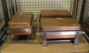3x Stainless Steel Chafing Unit With Fuel Units