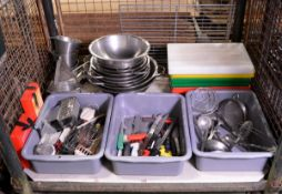 Various Catering Equipment - Collinders, Utensils, Chopping Boards, Catering Knives