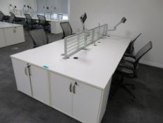 4 Person Desk Arrangement With Dividers, Monitor Arms & Storage Cupboards. Chairs Are Not Included.