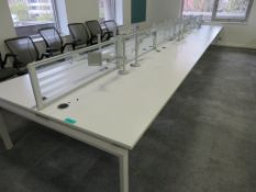 12 Person Desk Arrangement With Dividers, & Monitor Arms.