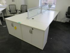 4 Person Desk Arrangement With Dividers & Storage Cupboards.