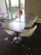 Canteen Tables & 8 Chairs. Dimensions Per Table: 700x000x750mm (LxDxH)