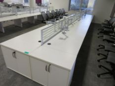 12 Person Desk Arrangement With Dividers, Monitor Arms & Storage Cupboards.