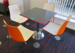Canteen Table & 4 Chairs. Dimensions Per Table: 700x000x750mm (LxDxH)