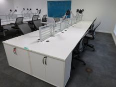 8 Person Desk Arrangement With Dividers, Monitor Arms & Storage Cupboards. Chairs Are Not Included.