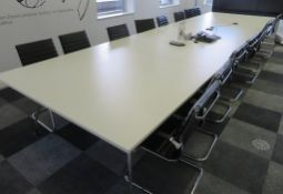 Large 14 Person Conference Table With 14 Chairs.