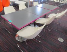 Canteen Tables & 6 Chairs. Dimensions Per Table: 700x000x750mm (LxDxH)