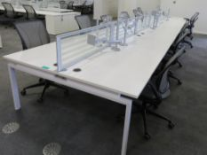12 Person Desk Arrangement With Dividers & Monitor Arms. Please Note The Chairs Are Not Included.