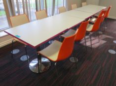 Canteen Tables & 10 Chairs. Dimensions Per Table: 700x000x750mm (LxDxH)