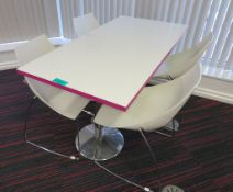 Canteen Tables & 4 Chairs. Dimensions Per Table: 700x000x750mm (LxDxH)