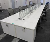 12 Person Desk Arrangement With Dividers, Monitor Arms & Storage Cupboards. Chairs Are Not Included.