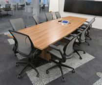 Large Conference Table With 9 Humanscale Chairs.