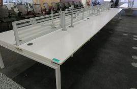 12 Person Desk Arrangement With Dividers & Monitor Arms.