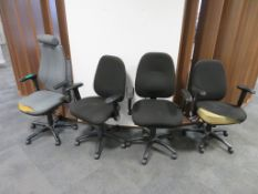 4x Adjustable Office Chairs. Varying Condition.