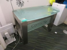 Glass Concierge Desk With Industrial Finished Legs.