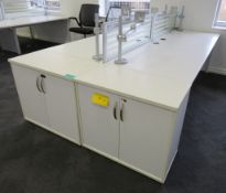 4 Person Desk Arrangement With Dividers, Monitor Arms & Storage Cupboards.