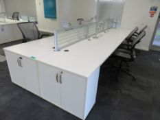 6 Person Desk Arrangement With Dividers, Monitor Arms & Storage Cupboards. Chairs Are Not Included.