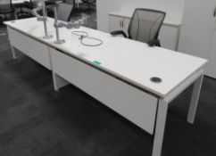 2 Person Desk Arrangement With Monitor Arms & 2 Humanscale Different World Office Chairs.