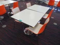 Canteen Tables & 4 Chairs. Dimensions Per Table: 800x800x750mm (LxDxH)