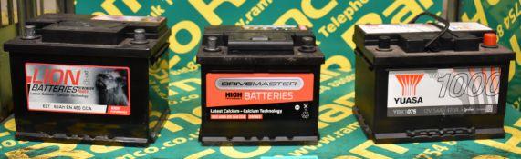 Yuasa YBX1075 12v 54Ah 470A, Drivemaster 063 40Ah EN 340 CCA & Lion 027 60Ah EN 480 CCA Batteries