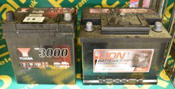 Lion 027 60Ah EN 480 CCA & Yuasa YBX3054 12v 36Ah 330A Batteries