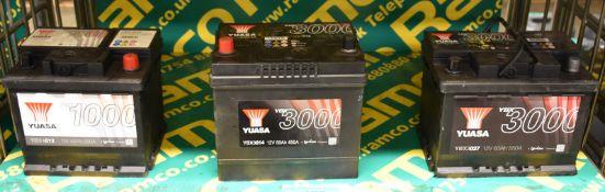 Yuasa YBX3027 12v 60Ah 550A, Yuasa YBX3014 12v 60Ah 450A & Yuasa YBX1012 12v 45Ah 380A Batteries