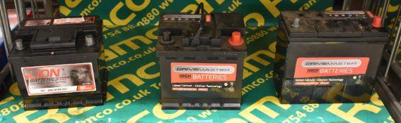 Drivemaster 156 45Ah EN 330 CCA, Drivemaster 077 45Ah EN 400 CCA & Lion 063 40Ah EN 340 Batteries