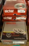 3x Eicher & 1x Mintex Brake Disc Sets - please see pictures for examples of make and model