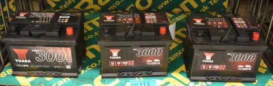3x Yuasa YBX3075 12v 60Ah 550A Batteries