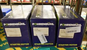 3x Fohrenbuhl Starter Motors - please see pictures for examples of make and model numbers