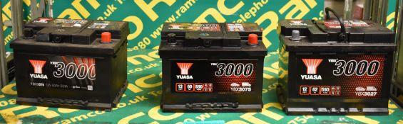 2x Yuasa YBX3075 12v 60Ah 550A & 1x Yuasa YBX3027 12v 62Ah 550A Batteries