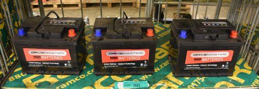 3x Drivemaster 065 52Ah EN 460 CCA Batteries