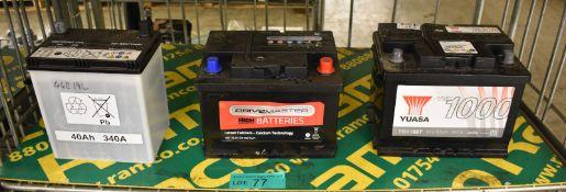 Yuasa YBX 1027, Drivemaster 065 52Ah EN460 CCA & GS Yuasa 40Ah 340A Batteries