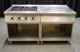 Ambach 4 Hob Induction Top with Side prep area, 3 phase electric