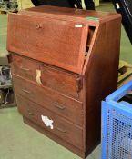 Wooden Writing Bureau - H1070 x W800 x D340mm