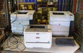 3x Office printers, OKI B411dn, 2x HP LaserJet 600 M602
